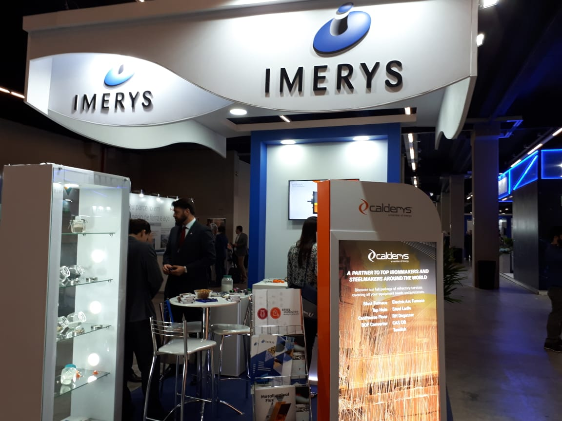 Calderys and Imerys booth at ABM Week Iron & Steel event in Brazil