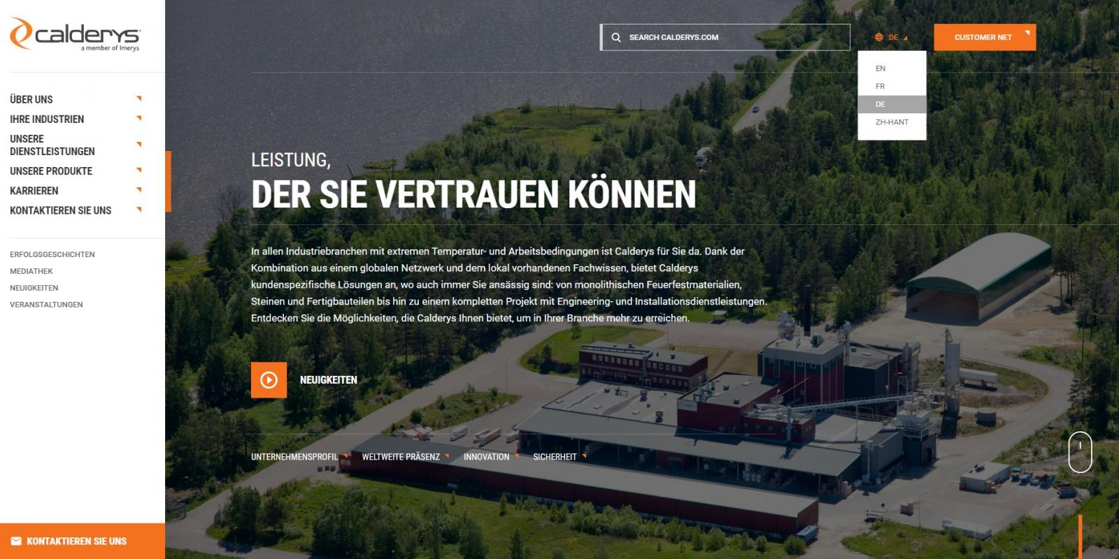 Calderys website now available in German language