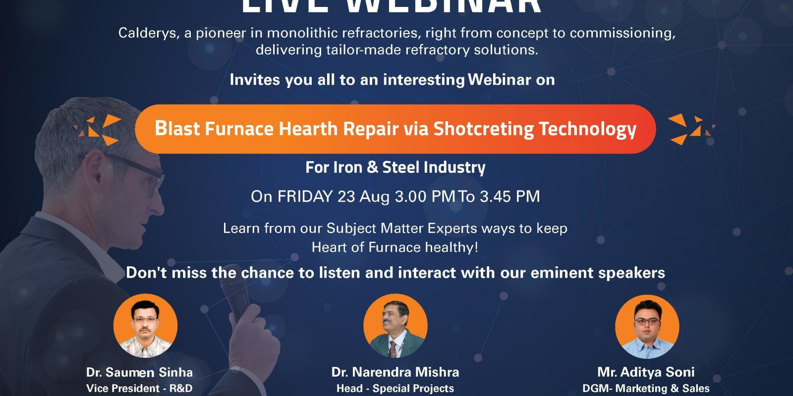 Calderys India Refractory Webinar on Blast Furnace Hearth repair for the Iron Industry